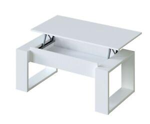 Mesa de centro elevable salon comedor blanco moderno Square 45-54x105x55 cm