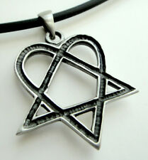 Heartagram Heart Love Pentagram Pentacle Magic Pewter Pendant Choker Necklace