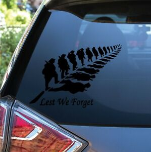 2 x Lest We Forget Help 4 Heroes Charity Anzac Vinyl Decal Bumper Car Sticker UK