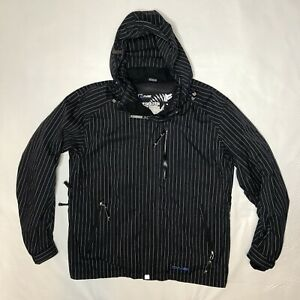 Descente DNA Black, White Pinstripes Ski Snowboard Snow Winter Shell Jacket L