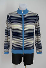 MENS HUGO BOSS ZIP CARDIGAN JUMPER 100 % WOOL NAVY IVORY STRIPED S SMALL EXC