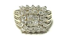 LARGE 14k Yellow Gold Genuine LOADED Diamond Cluster Design Dome Ring Size 7.0