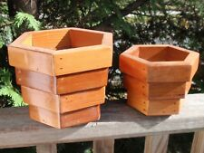 2 Handmade Wooden Planters 4.5 And 6 Inches
