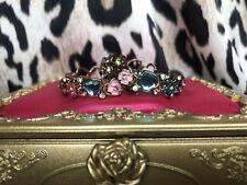 Betsey Johnson Fairyland Crystal Flower Embellished Bow Gold Hoop Earrings RARE