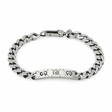 New Original Gucci Ghost Sterling Silver Gourmette Bracelet YBA455321001020