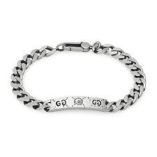 New Original Gucci Ghost Sterling Silver Gourmette Bracelet YBA455321001020