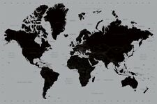 WORLD MAP BLACK & SILVER Wall Print POSTER