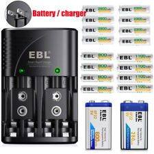 EBL 9V AA AAA 6F22 9Volt NI-MH Rechargeable Batteries w/ Smart Charger Charger