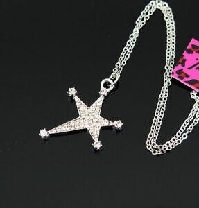 New Pendant Fashion Betsey Johnson Rhinestone Flash stars Silver Necklace Women
