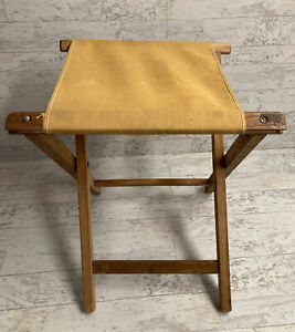 Vintage Wooden Camping Folding Canvas Seat Fishing Cabin Rustic