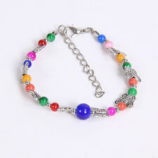 DIY fashion gift of love colorful Tibetan silver bracelet beaded butterfly S25