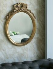 French Farmhouse Chic Ornate Anthropologie Style Wall Mirror Gold Ribbon Oval