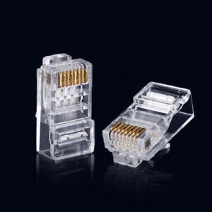 100Pcs RJ45 8P8C CAT6 Crystal Head Modular Plug Gold Plated Network Connector