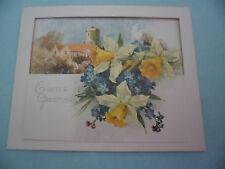 LOT 2 ANTIQUE VINTAGE OLD EASTER GREETING CARDS CHURCHES FLOWERS LILAC RIBBON