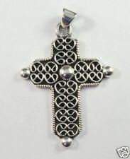 925 sterling silver cross pendant raised pattern