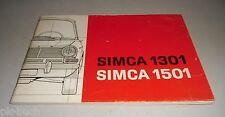 Instrucciones Servicio Manual Uso y Manutención Talbot Simca 1301 1501 ,Stand