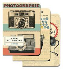 Cavallini Mini Notebooks Vintage TYPEWRITER CAMERA PHONE 4x5, Set of 3 Different