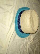 Target Boys Hat Fedora straw type Teal and tan.