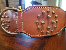 MEDIUM NEW HILASON TAN GENUINE LEATHER SPIKES STUDDED PADDED DOG COLLAR TAN