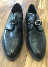 Topshop Black Leather Silver Buckle Brogues Shoes Pumps Worn Once £45