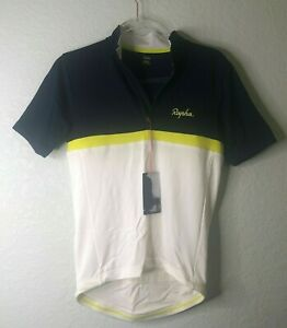 NEW Rapha Men's Cycling Jersey XS Classic Short Sleeve Club Cream Neon Blue RCC