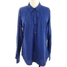 Vineyard Vines Women Shirt Size 16 Navy Blue White Polka Dot Button Down Tab Sle