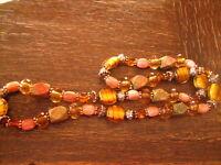 ausgefallene Vintage Kette Muranoglas Perlen Goldblatt Einschmelzung Achat Pâte