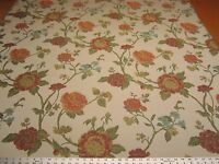 7 3/8 yards Robert Allen Large Buds poppy floral upholstery fabric r2260