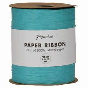 Ribbon - Paper extra wide Blue 22mtrs of 100g natural paper - (8086)