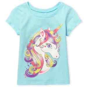 NWT The Childrens Place Unicorn Baby Girls Short Sleeve Shirt 18-24 Months