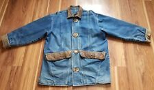 Vintage Robert Comstock Denim Levi Jacket with Leather Collar & Trim, Size 44