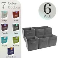 6 Foldable Storage Cube Basket Bin Cloth Baskets for Shelves, Cubby Organizers