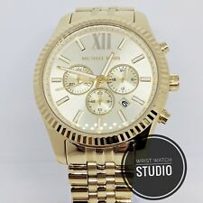 Michael Kors MK8281 Gold Mens Designer Wristwatch Genuine MK Lexington Watch