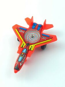 JIMMY TOYS 80's 4'' RED F-15 EAGLE JET FIGHTER TIN & PLASTIC SPINNING TOP WORKS