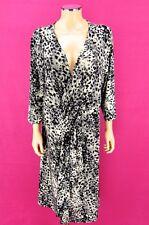LANE BRYANT Ruffle Dress SIZE 18 / 20 Gray Black Creme Leopard Animal Print