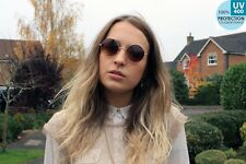 400uv-ray Lens occhiali da sole rotondi CERCHIO boho hippy marrone gold frame@ban_that_sun