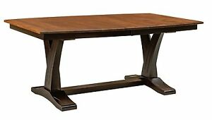 """Amish Paris Trestle Dining Table Transitional """"X"""" Base Rectangle Solid Wood"""