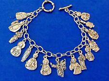 Custom Religious Catholic Saint Medal Charm Bracelet FIGURE Medals Stainless