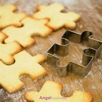 4x Stainless Steel Puzzle Biscuit Cookie Fondant Cutters Mold Mould Cake Baking