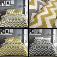Chevron Zig Zag Duvet Quilt Cover Bedding Set Ochre Yellow Grey White