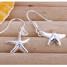 Wholesale Price Solid Silver Jewelry Lovely Small Starfish Earrings Dangle EW090