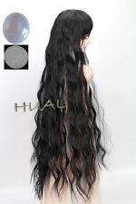 "6-7"" 1/6 BJD Black Curly Wave Long Wig LUTS Doll SD DZ MSD Hair Soom Volks +Cap"