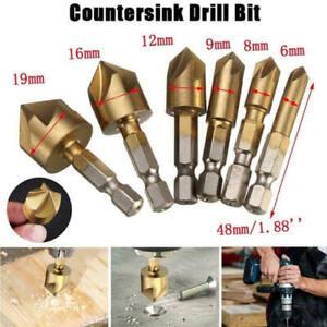 6Pcs Hex Shank 5 Flute 90° HSS Countersink Drill Bit 6-19mm Set Chamfer Cutter