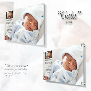 Personalised Canvas / Acrylic wall picture with custom text Gift Present Gala