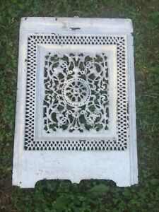 Antique Cast Iron Fire Back With Filigree Design