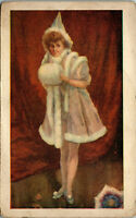Young entertaining lady • Pink coat with white trim 1900 Vintage Postcard AA-005