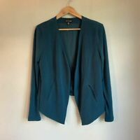 W./Wantable Womens Open Front Blazer Jacket Blue Stretch Long Sleeve Pockets XL