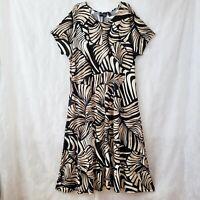 Attitudes By Renee Women's NWT 3X Short Sleeve Maxi Dress A-Line Tan/Blk/White