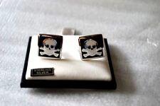 $195 New in Box DAVID DONAHUE Black Skull & Crossbones Sterling silver cufflinks