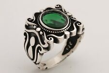 Turkish Handmade Jewelry Oval Emerald 925 Sterling Silver Men's Ring Size 9.5